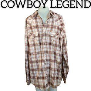 Cowboy Legend Plaid Snap Button Down Shirt (XXL)